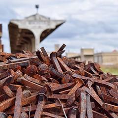 Ole Spike! (slammerking) Tags: railway railroad spikes trainstation traintracks unionstation depthoffield pile junk iron patina rusty