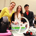 Morgan Danyi (in yellow) and her Design Day team overcame technical hurdles to create a working bubble-blowing machine.