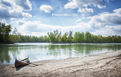 Volle Stille (Andy Brandl (PhotonMix)) Tags: swan landscape photonmix canoe tranquility ruhe travel germany