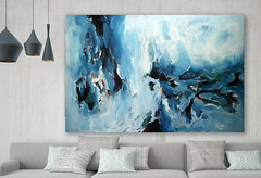 Original blue abstract painting by Omar Obaid (Omar Obaid) Tags: livingroom frame modern mockup posterinterior 3d sofa wall design empty rendering nobody furniture floor minimalist blue home decoration background white plant lifestyle architecture couch house contemporary comfortable apartment lamp parquet concept picture many art decor style light wood luxury group 3drendering gray ukraine