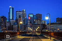 Morning Blues- Downtown Minneapolis, MN #322 (DBruner240) Tags: minneapolis mn minnesota ngc skyline skyscraper sunrise stone arch bridge