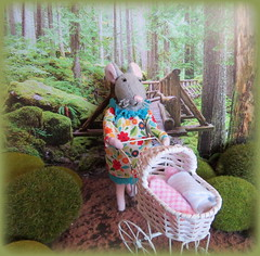 Out for a Walk (Foxy Belle) Tags: 112 dollhouse doll mouse baby mother twins carriage buggy outside diorama woods calendar