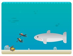 fundo do mar (rodrigofigueiredo) Tags: ocean sea illustration danger shark treasure mergulho dive deep diving vector ilustrao desenho deepblue vetor deepsea deepocean tesouro fundodomar