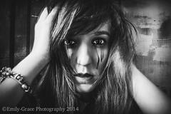 (Emily Grace Photography) Tags: portrait blackandwhite woman white selfportrait black girl female self hair nikon long emotion crying selfie nikond7100