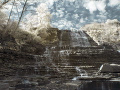 Infrared Falls (chiefeile) Tags: autumn trees sky ontario canada tree water leaves clouds photoshop river flow photography photo waterfall leaf rocks exposure photographer seasons hamilton tone exposures infr