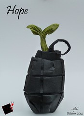 hope (-sebl-) Tags: plant paper war origami peace foil tissue pot grenade unryu challenge sebl