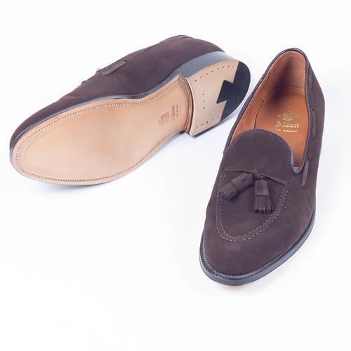 brown leather kid alden sole designerclothing suede resale menswear loafer mensapparel
