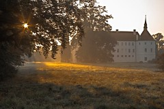 Sunny morning (cнαт-ɴoιr^^) Tags: morning autumn castle herbst cobweb castello château morgen brandenburg morningsun morgensonne spinnweben moatedcastle altweibersommer pentaxart wasserschlosfürstlichdrehna 20141005igp0920
