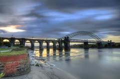 Two Bridges (Explored 19/10/14) (Jeffpmcdonald) Tags: uk runcorn widnes silverjubileebridge britanniabridge runcornwidnesbridge runcornrailwaybridge nikond7000 jeffpmcdonald ethelfledabridge oct2014