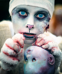 Zombie Rabbit Doll (henriksundholm.com) Tags: portrait people woman rabbit bunny girl face lady female mouth fur blood model eyes hands doll skin sweden stockholm head zombie teeth victim fingers makeup lips biting nails cap gore ear horror terror bite chewing chew sverige bloody scabs wounds stermalm zombiewalk saraherrlander