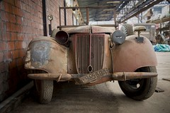 Old Red (Taken By Me Photography) Tags: auto old urban building brick cars abandoned broken car wall neglect nikon automobile closed factory ride decay empty exploring bricks ruin rusty eerie adventure explore takenbyme forgotten walls left derelict breaker ue urbex d610