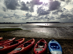 Kayaks And Kitesurfers (Marc Sayce) Tags: road harbour shore canoes dorset sandbanks banks poole kayaks kitesurfers kiteboarders