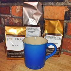 "Yesterday's mail delivery brought the most delightful surprise.  JL Hufford - Discover Gourmet treated me to a beautiful new coffee mug and a few of their favorite coffee roasts to sample here at 1840 Farm.  You know how much I love a great cup of coffee • <a style=""font-size:0.8em;"" href=""http://www.flickr.com/photos/54958436@N05/15485768932/"" target=""_blank"">View on Flickr</a>"
