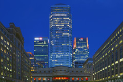 Among Giants (UrbanCyclops) Tags: city uk greatbritain england urban london skyline architecture night canon buildings lights evening europe cityscape skyscrapers unitedkingdom towers east gb metropolis bluehour canarywharf offices