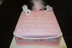 Christening Cake (Victorious_Sponge) Tags: pink horse girl cake square christening rocking cot cradle bunting