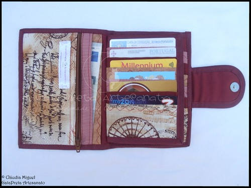 """Carteira para 25 cartões, notas e moedas """"J'aime l'automne à Paris"""""""