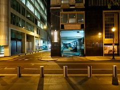 Park and Walk (henk.sijgers (on some; off some)) Tags: city blue light urban black glass metal architecture bronze night concrete gold cityscape availablelight garage parking perspective pa nik philly asphalt m43 gm1 trolled 15mmf17 leicadgsummilux15f17 15mmf17philly