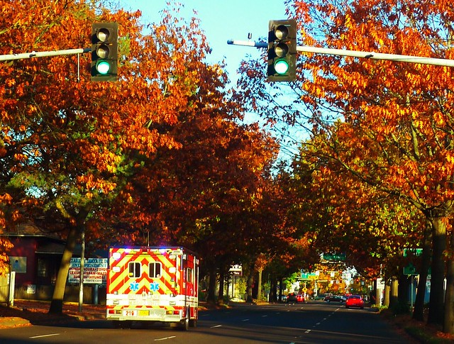 November Saturday Afternoon in My Town, Emergency Vehicle Headed Down Seventh into the Downtown Area of Eugene