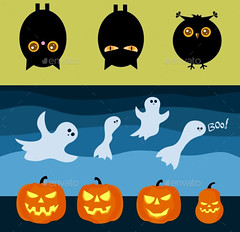 Halloween_bats_owl_ghosts_pumpkin (ragerabbit) Tags: trees moon holiday castle halloween grass set cat fence dark pumpkin skull wings eyes funny wolf spiders stones cartoon scarecrow silhouettes illustrations owl bones ghosts creatures celebrate vector bats