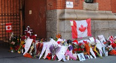Memorial Floral Tribute For Slain Soldier .... Cpl. Nathan Cirillo .... Hamilton, Ontario (Greg's Southern Ontario (catching Up Slowly)) Tags: canada inmemory sad mourning canadian explore armory armoury floraltribute hamiltonontario thehammer flickrexplore floraltributenathancirillo nathancirillo johnwfootearmoury canadiansoldiernathancirillo