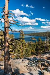 Lake Tahoe (R Rios) Tags: california blue sunset lake mountains green water beautiful rock clouds landscape bay rocks nevada tahoe sierra bonsai northern emerald