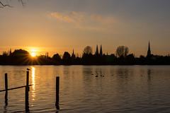 Lbeck Wakenitz (stephanarp339) Tags: sunset lac cathdrale lbeck calme vieilleville wakenitz
