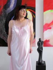 Satin (Paula Satijn) Tags: pink sexy girl shiny soft silk tgirl transvestite slip satin gurl silky nightgown nightdress nightie