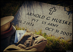 World War 2 Veteran Arnold Hueske (Sierragoddess) Tags: 2 grave hat stone uniform cross rip wwii arnold north carve memory veteran etch dakota worldwar veterans veteransday vetern hueske darlahueske focusonthespirit