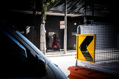 Across the road 2 (Vincent Albanese) Tags: road street winter people woman plants sun man colour tree eye window glass bike fuji shadows emotion humanity sydney hipster inspired streetphotography australia explore fujifilm colourful moment discover decisive atelier xt1 xf35mm