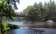 Suspension Bridge in Lake Superior Mist - Black River Harbor - Gogebic County - Michigan (Mikel Classen) Tags: harbor michigan blackriver upperpeninsula lakesuperior gogebiccounty