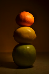 Stop, Caution, Go! (Milica Simić) Tags: stop caution go orange mandarin lemon apple green yellow red black brown light smooth concept conceptual fruit fruits simplicity