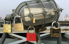 Love padlocks on the Chain Bridge (VillaRhapsody) Tags: budapest danube bridge chainbridge padlocks lamp love symbol