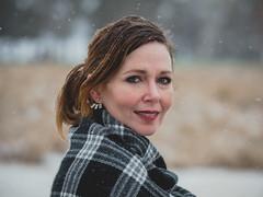 Krista (Vincent F Tsai) Tags: portrait fashion face headshot woman smile eyes stare look snow cold winter spring scarf bokeh beautiful turn naturallight olympusmzuiko75mmf18 panasonic lumixg7