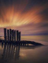 Pastel Shades on the Shoreline (Todd Murrison (Whitby61)) Tags: pastelskies canon6d 220seconds canonef2470mmf28iiusm leebigstopper ajax canada january winter colourful goldenhour longexposure sandy beach lakeontario pilings streaks technicolor transition shadows reflection wood f16 ocanada morningglory toddmurrison 10stopndfilter ngc