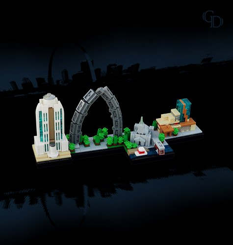 marchitecture lego skyline stlouis arch cathedral hotel courthouse river riverboat bridge mississippiriver muddymississippi eadsbridge