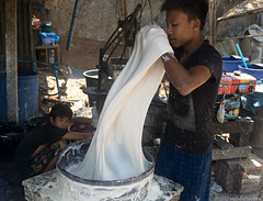 Kneading rice flour batter (Michael Layefsky) Tags: kneading batter riceflour cracker pancake production working mawlamyine myanmar burma moulmein
