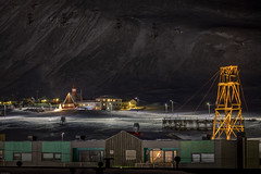 Longyearbyen town (Steven-ch) Tags: polarnight svalbard church buildings canon town snow norway hdr travel spitsbergen eos5dmarkiv longyearbyen ropeways europe pylon streetlights svalbardandjanmayen sj svalbardchurch