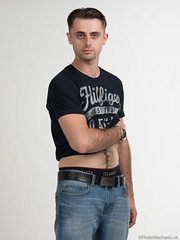 Casey (PhotoMechanic.uk) Tags: male man guy dude youth model pose photoshoot studio blue jeans tshirt fashion trendy casual stand standing