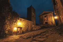 Night In Hum II (Robert Marić) Tags: istria istra istrien croatia kroatien adriatic old scenery landscape robert marić sunset clouds magic fantasy hum smallest town church tower night evening lights street historical countryside
