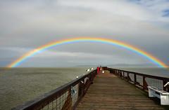 Two Birds and a Rainbow (Spleen Havoc) Tags: seagalls seascape beautiful landscape rainbow clouds sky water ocean marin california pier lines skyline nature rod gun club vanishing point