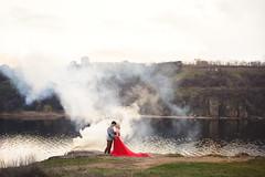 Smoky red (Nikita Vadimovitch) Tags: portrait pair lovestory red smoky river landscape girl love портрет пара лавстори красный красное дым smoke дымный река ландшафт природа девушка любовь платье dress