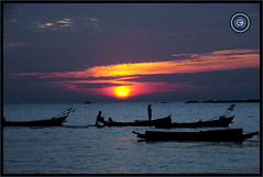 Myanmar (Burma) (Wioletta Ciolkiewicz) Tags: myanmar burma asia bayofbengal indianocean ngwesaung sunset sky water photoborder outdoor wiolettaciolkiewicz shore