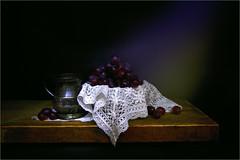 Tankard with Grapes (1) (mtwhitelock) Tags: grapes tankard lace subduedlight stilllife