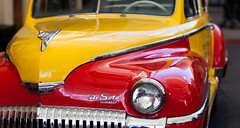 DeSoto (nzfisher) Tags: classic car closeup colour color colourful colorful yellow red bokeh canon 85mm movieworld goldcoast queensland australia