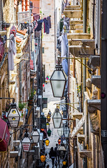 Street of Lanterns (cpallot1) Tags: dubrovnik street lanterns hussle city history dalmatia croatia town people