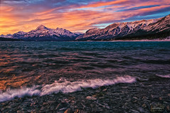 Abraham Shores (Quincey Deters) Tags: november 2013 outdoor nature canada allrightsreserved â©quinceydeters horizontal colourimage art photoart landscape mountain lake rock snow water northamerica alberta abrahamlake rockymountains canadianrockymountains morning earlywinter sunrise dawn shore wave