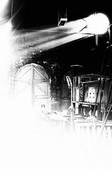 Shed doors (newshot.) Tags: innervation aviemore scotland shed railway grain highcontrast blacks nikon d700 zeiss planart1450 zf2 general sunlight shaft workshop mono retread steam light energy white splash