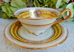 Antique Cauldon English Porcelain Cup & Saucer ~ Gold Encrusted (Donna's Collectables) Tags: antique cauldon english porcelain cup saucer ~ gold encrusted