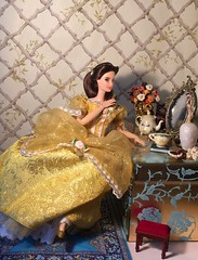 A True Beauty (MaxxieJames) Tags: belle beauty beast disney princess mattel barbie custom doll mrs potts chip plumette mirror dressing table ballgown enchanted objects hasbro palace friends