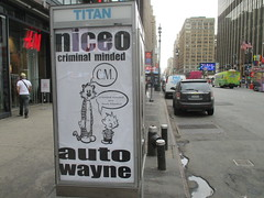 Niceo Wayne Auto Graffiti Art Calvin and Hobbs Comic Strip 4487 (Brechtbug) Tags: niceo wayne auto graffiti calvin hobbs newspaper comic strip characters art posters sidewalk phone booth 7th avenue near 34th street midtown nyc 2017 04172017 new york city profile design films movie funnies sunday papers bill watterson cartoonist tigre kid stuffed tiger st ave streets niceos criminal minded you been blinded guerilla ads cover manhattan culture jamming bombing since 1977 mass appeal reports same funny cartoon news paper cm